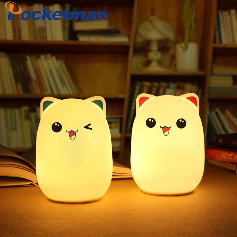 Silicone Touch Sensor LED Night Light For Children Baby Kids 7 Colors 2 modes Bear LED USB LED Night Lamp