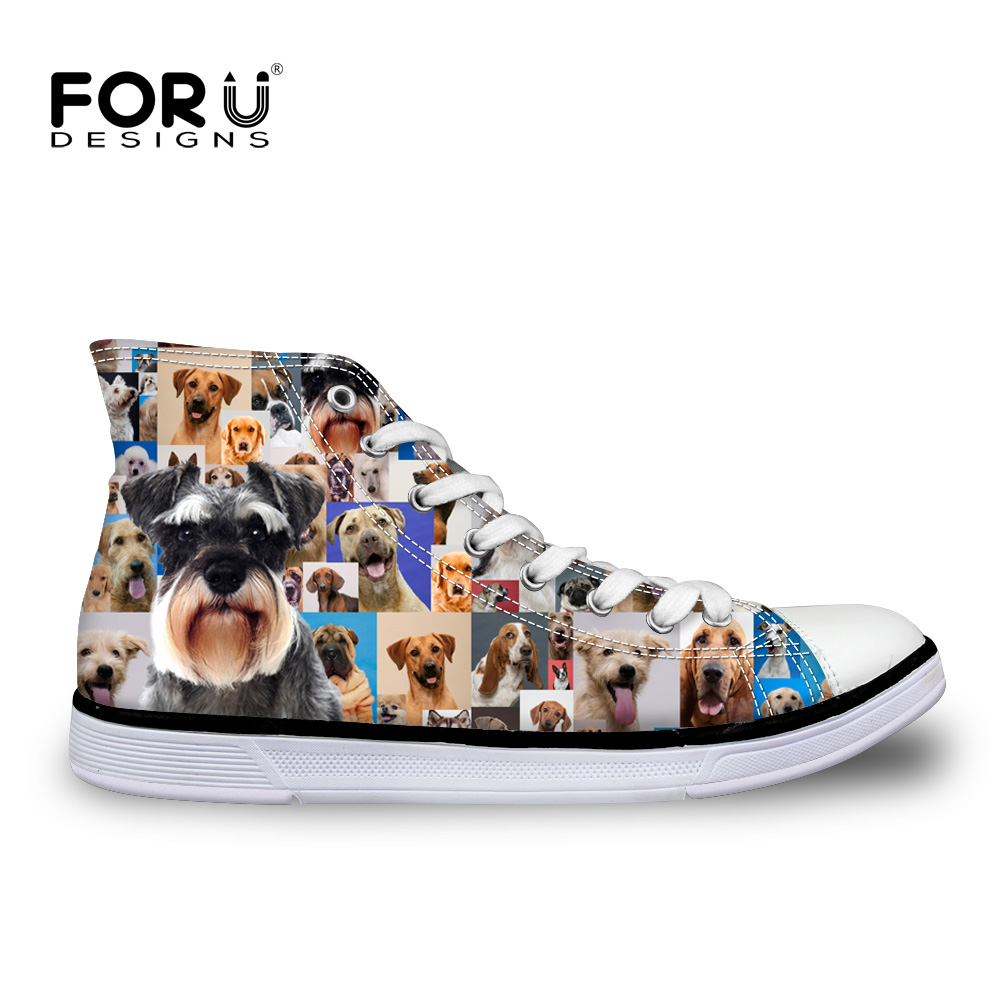 FORUDESIGNS Cute 3D Dog Print Women Canvas Shoes High Top Lady Casual Flat Shoe Summer Casual Vulcanized Zapatos Femme Chaussure e lov women casual walking shoes graffiti aries horoscope canvas shoe low top flat oxford shoes for couples lovers