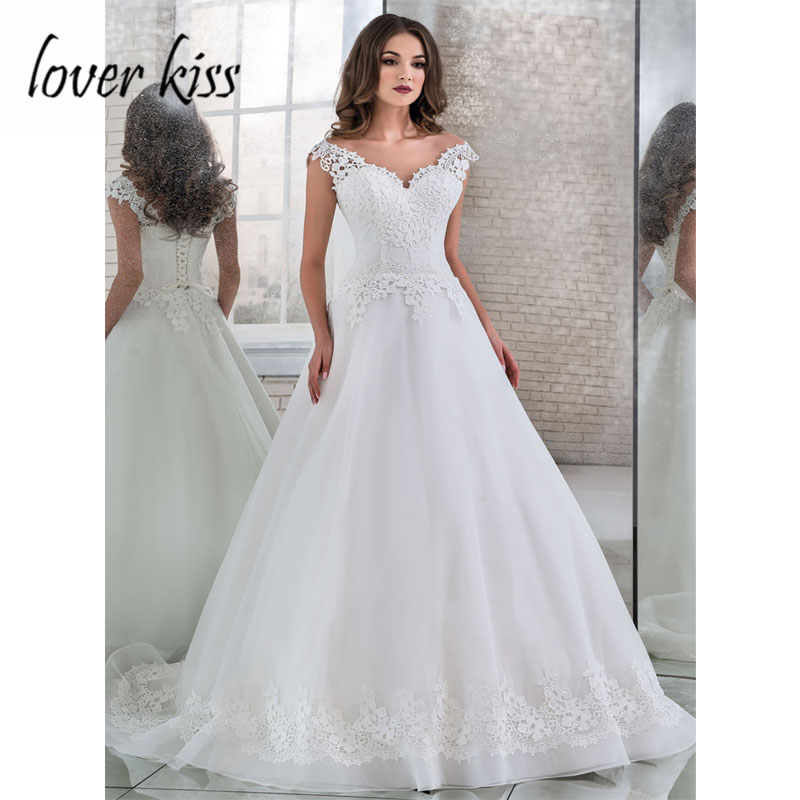 Lover Kiss Vestido De Noiva A Line Tulle Wedding Dress V Neck Lace Appliques Bridal Bride Gowns Corset Back 2019 Robe de Mariage-in Wedding Dresses from Weddings & Events