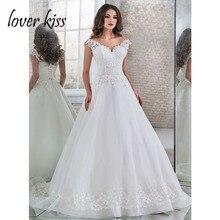 Sevgilisi öpücük Vestido De Noiva 2020 artı boyutu düğün elbisesi dantel A Line plaj gelinlikler gelinlik Robe de Mariage