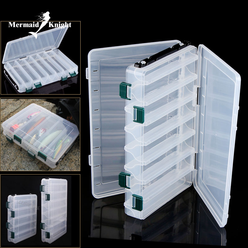 MK Brand Fishing Lure Box Double Sided Spinner Bait Minnow Popper 14 Compartments Fishing Tackle Box goture 96pcs fishing lure kit minnow popper spinner jig heads offset worms hook swivels metal spoon with fishing tackle box