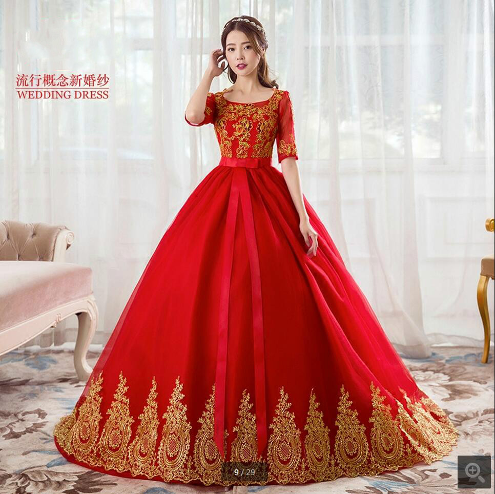 Ball Gown Red Half Sleeve Lace Appliques Wedding Dress Chapel Train Hollow Back Sexy Formal Bride Gowns Vestidos De Noiva