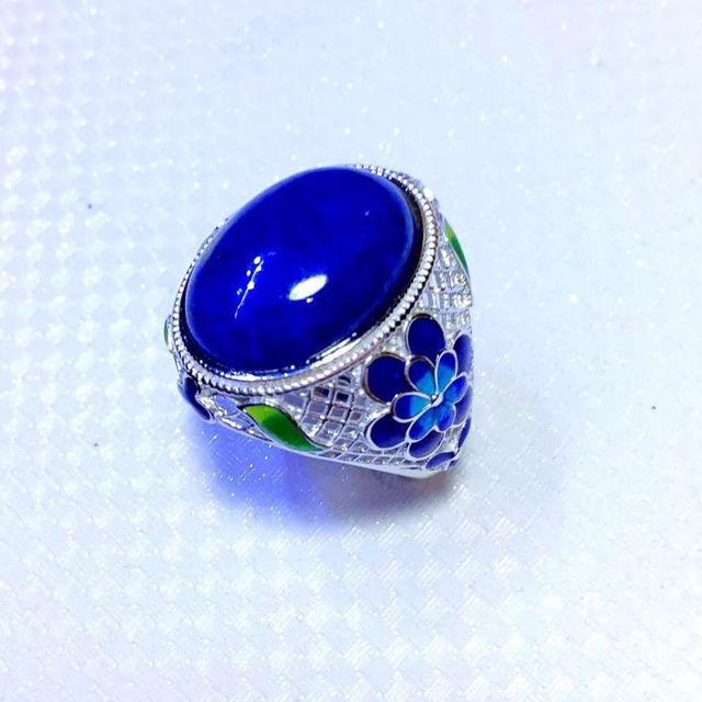 Retro Silver S925 Sterling Silver Inlaid Natural Afghanistan Lapis Lazuli Blue Claw Open Ended Ring