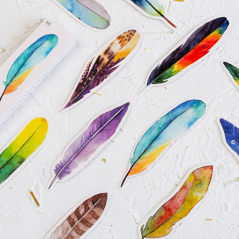 30Pcs/lot Cute Creative Colorful Feather Paper Bookmark Birds In Memory Stationery Bookmarks Book Clip Office School Supply
