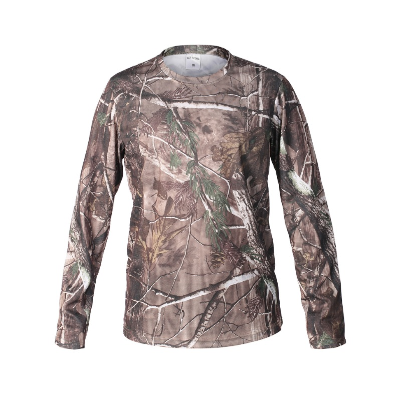 Man Bionic Hunting T-shirt Quick Dry Breathable Long Sleeve Camouflage Shirt Men Hiking T-shirt Tactical Military Clothing Tops