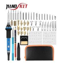 Handskit 40 sztuk 110V/220V 60W zestaw żeliwa lutowniczego zestaw końcówek do wypalania W drewnie elektryczne lutownica Carving pirography Tools
