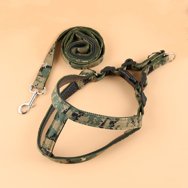 Camo Green Harness  U0026 Leash Set For Big Larger Dog Heavy