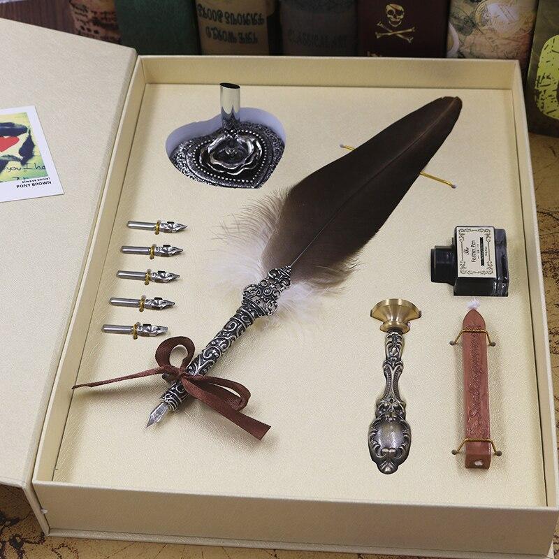 Vintage Harry Potter Plume D'oie Stylo En Métal Plumes Dip Écriture à L'encre Noire Ensemble Papeterie Cadeau Boîte Avec 5 Nib porte-stylet, cire