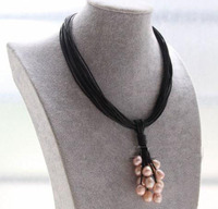 Elegant Handmade Real Pearl Jewelry 15 Strands Black Leather Pink Purple Pearls Choker Necklace 16 Magnet