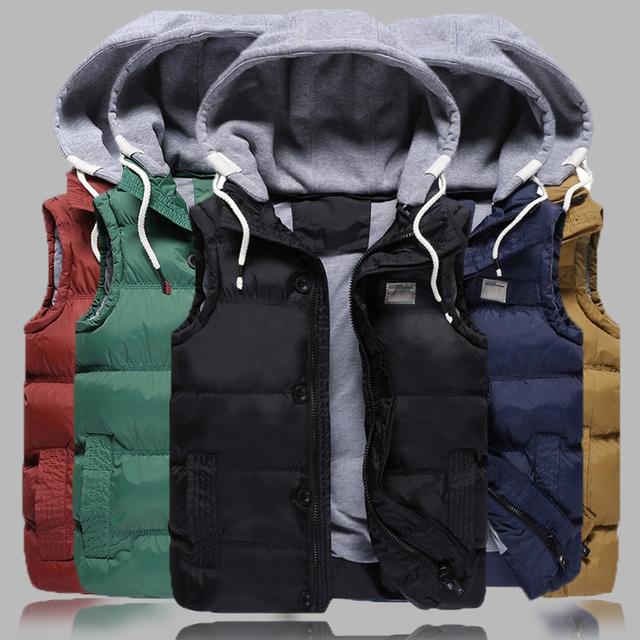 2017 Hombres Chalecos Con Capucha de Moda Multi-bolsillo de la Cremallera Sólido Vestcosts Hombres Chaquetas de Invierno Desmontable Sombrero Para Los Hombres Y abrigos