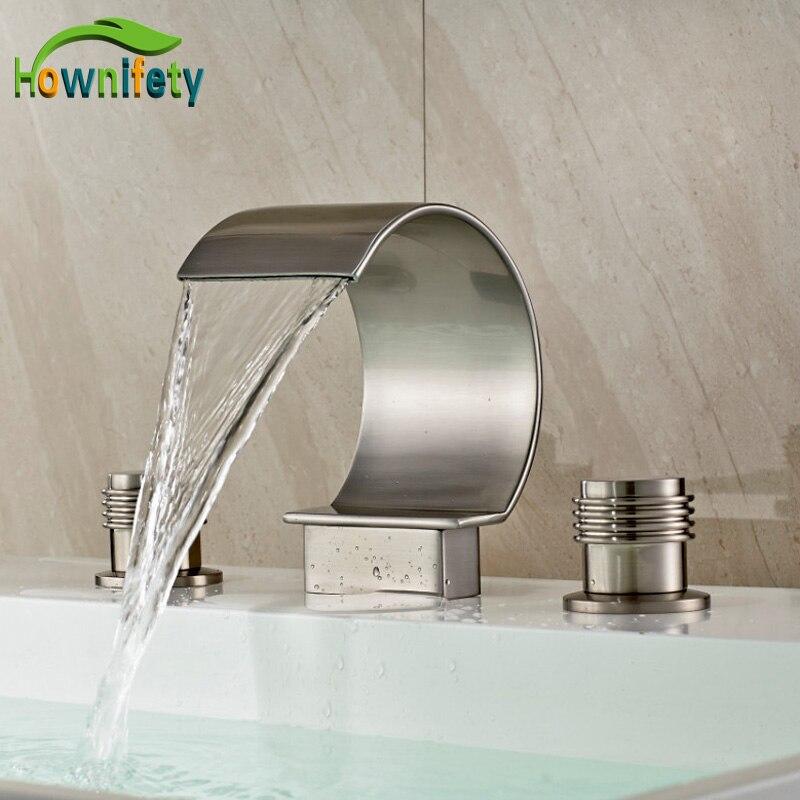 Nickel Brushed Widespread 3pcs Bathroom Sink/ Tub Faucet Double Handles Mixer Tap antique brass widespread bathroom faucet 3pcs 8 sink mixer tap dual handles