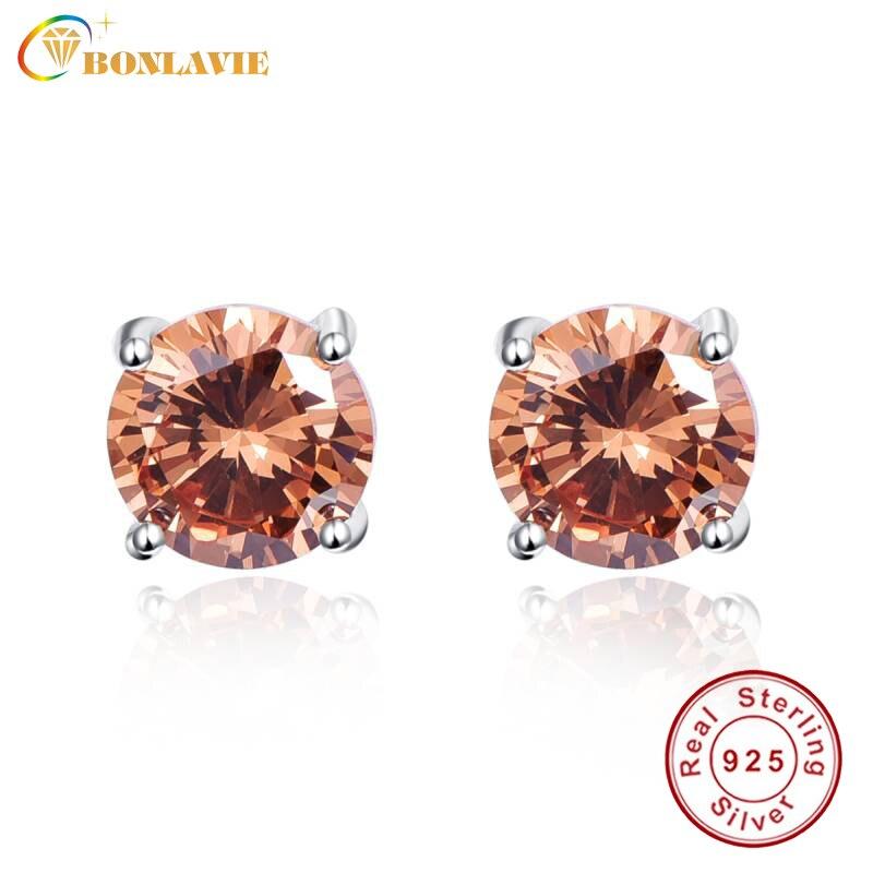 BONLAVIE 925 Sterling Silver Four-Claw Stud Earrings for Women Fashion Round 6.5ct Morganite Stud Earrings Wedding Fine Jewelry