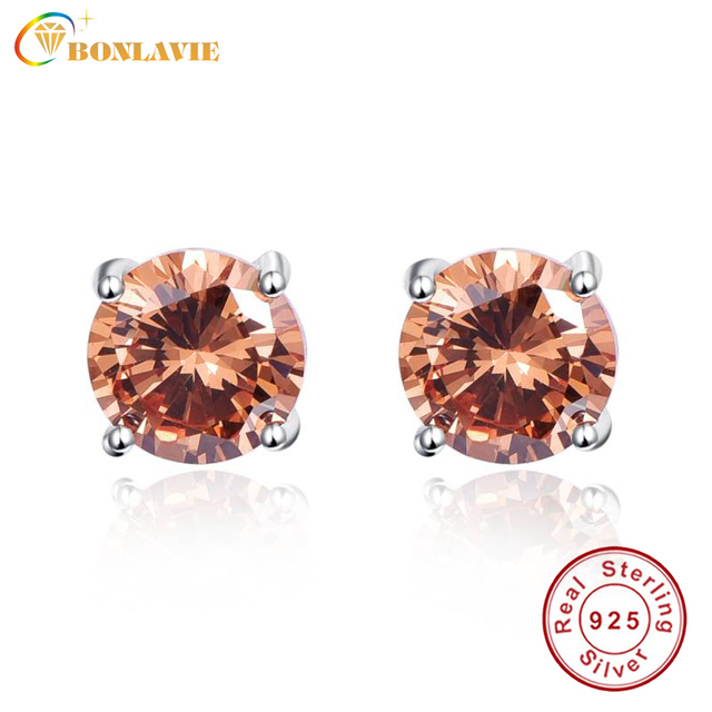 BONLAVIE 925 Sterling Silver Four-Claw Stud Earrings for Women Fashion Round 6.5ct Morganite Stud Earrings Wedding Fine Jewelry