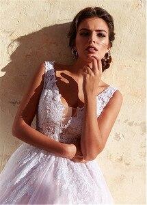 Image 3 - Robe de mariée en Tulle romantique, col en v, ligne a, avec des Appliques en dentelle, rose, longue, robe de mariée