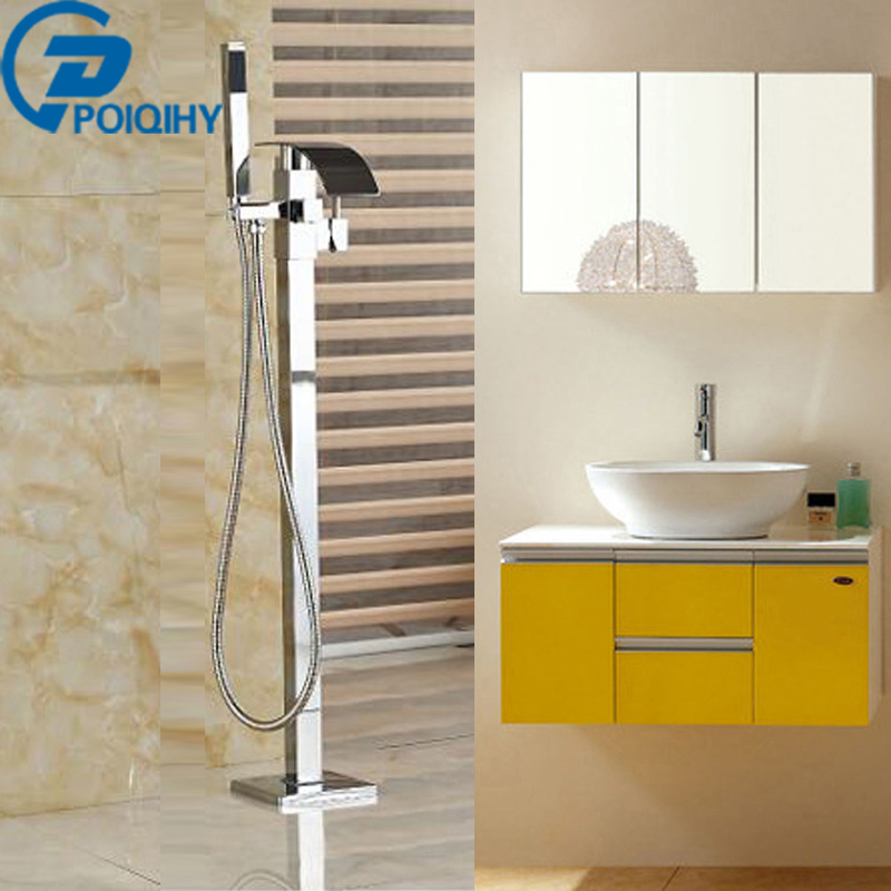 POIQIHY Chrome finished Floor Mounted Waterfall Spout Bathroom mixer Tub Faucet  with  Hand Shower Sprayer  Chrome Finished waterfall spout single lever bathroom tub faucet with hand sprayer deck mounted chrome brass