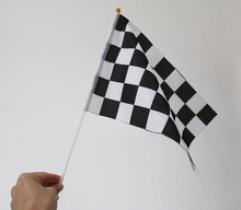 12 pieces lot 20x30cm Printed F1 racing check hand flags checkered banner with Plastic Flagpoles