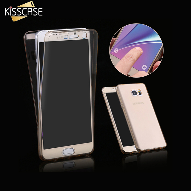 KISSCASE Note 5 Ultra Soft Clear Cover For Samsung Galaxy Note 5 N9200 Flexible 360 Degree Full Body Smart Touch Screen Case