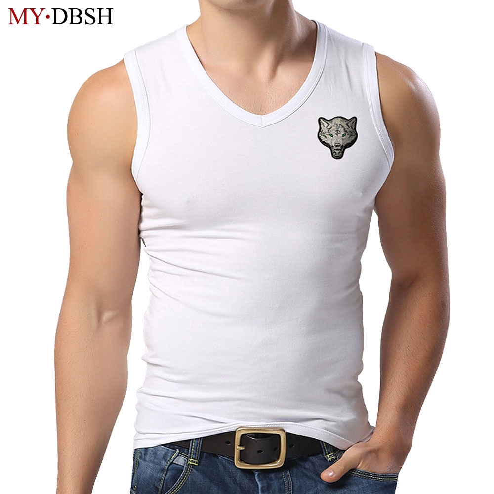 New Style Wolf Embroidery Men's Tank Top Mens Bodybuilding Fitness Lycra Tank Shirt Summer Clothes Muscle V Neck Sleeveless Vest