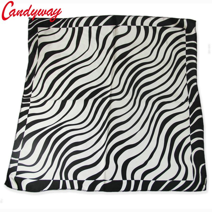 Silk scarf headband small facecloth square in 50cm black zebra scarf bandanas handkerchief neckerchief muffler b296(China)