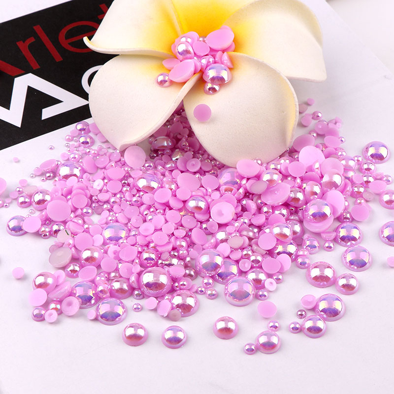 Ligh Purple 2/3/4/5/6/8/10 mix size Purple Self-Adhesive ABS Imitation Half Round Pearl Beads Flatback Decoration DIY Jewelry