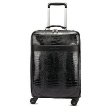 New Crocodile Grain PU Leather Suitcase Men and Women Vintage Travel Bag Luggage Universal Wheels Trolley