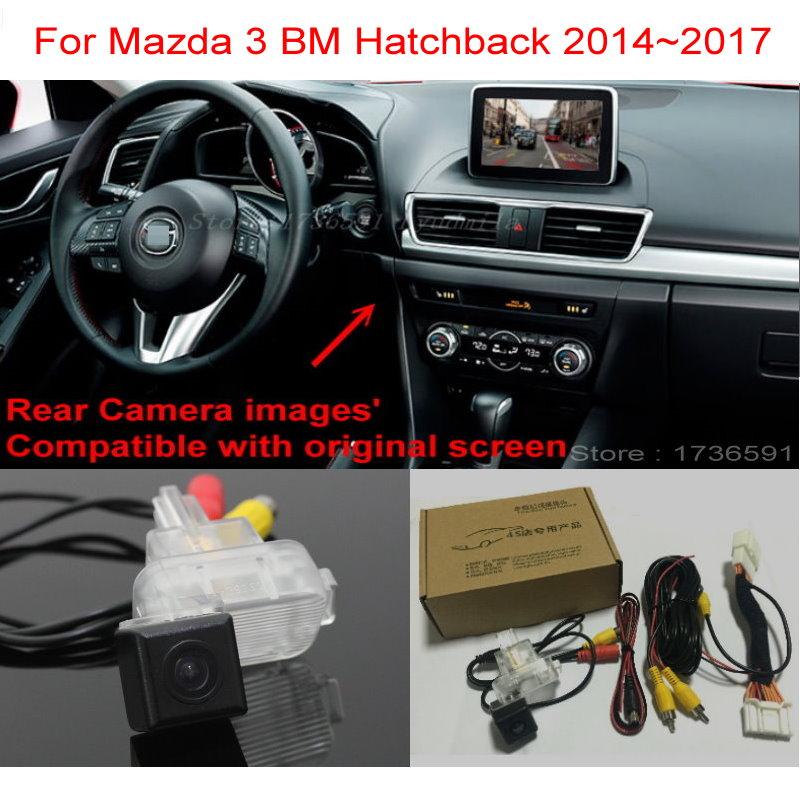 For Mazda 3 Mazda3 BM Hatchback 2014 2017 RCA Original Screen Compatible Car Back up Reverse