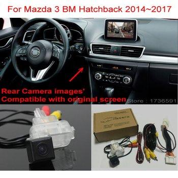 For Mazda 3 Mazda3 BM Hatchback 2014~2018 RCA & Original Screen Compatible Car Back up Reverse Camera Car Rear View Camera Sets for honda civic fb exi 2011 2016 car back up reverse camera car rear view camera sets rca