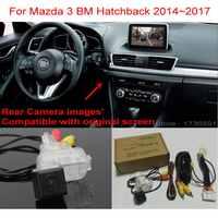 Para Mazda 3 Mazda3 BM Hatchback 2014 ~ 2017 RCA & Tela Original Compatível Car Back up Câmera Reversa Do Carro conjuntos de Câmera de Visão traseira