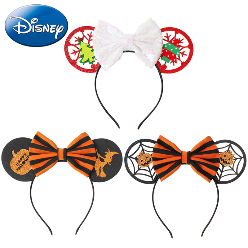 Disney New Kawaii Girls Women Bows Headband Christmas Ears Hair-Accessories Kid Accessories Headdress Head Band Halloween Party