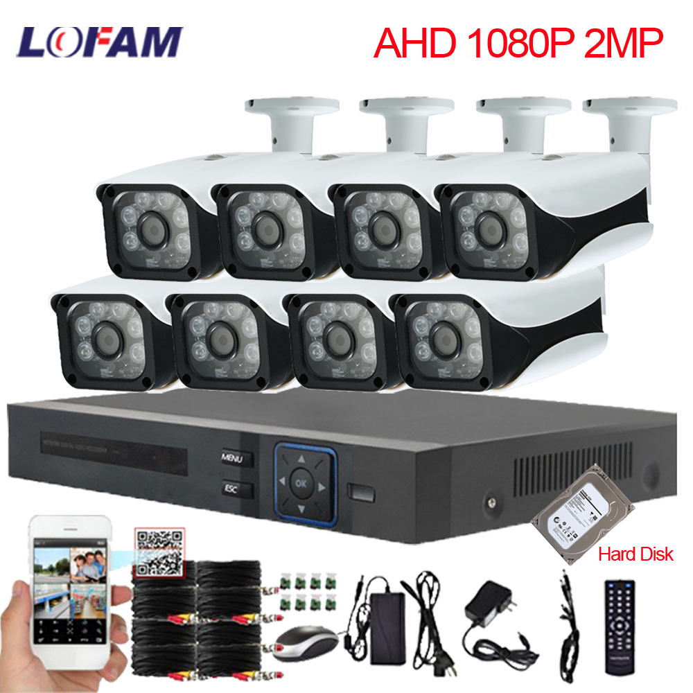 LOFAM 8CH 1080P DVR NVR CCTV System 8PCS Waterproof Outdoor Indoor Camera AHD 2MP Security Camera System 8CH Surveillance Kit-in Surveillance System from Security & Protection    1