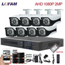 Lofam 8CH dvr nvr cctvシステム1080 1080p 8個防水屋外屋内カメラahd 2MPセキュリティカメラシステム8CH監視キット