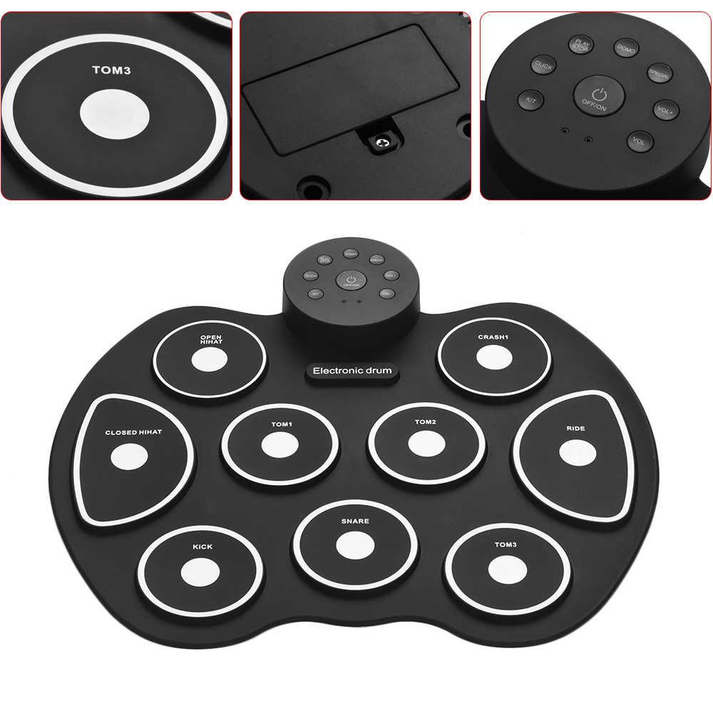 USB Roll-Up Del Silicone Drum Set Compact Size Digital Electronic Drum Kit 9 Drum Pad con Bacchette Piede Pedali per I Principianti Per Bambini