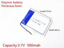 Free shipping Polymer battery 500 mah 3.7 V 502837 smart home MP3 speakers Li-ion battery for dvr,GPS,mp3,mp4,cell phone,speaker