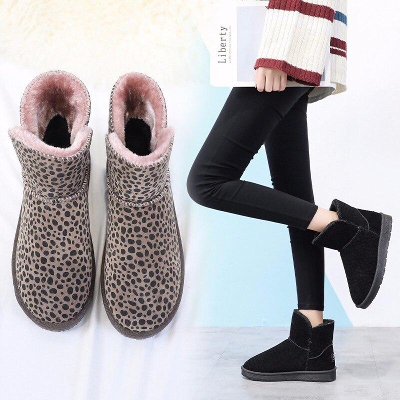 2985bda354a3 En Bottes Non Nouvelle Chaussures slip Noir Slip D hiver Plat Confortable  Neige Léopard marron sur Cheville Coton Peluche Chauds Femmes vqw65xrq