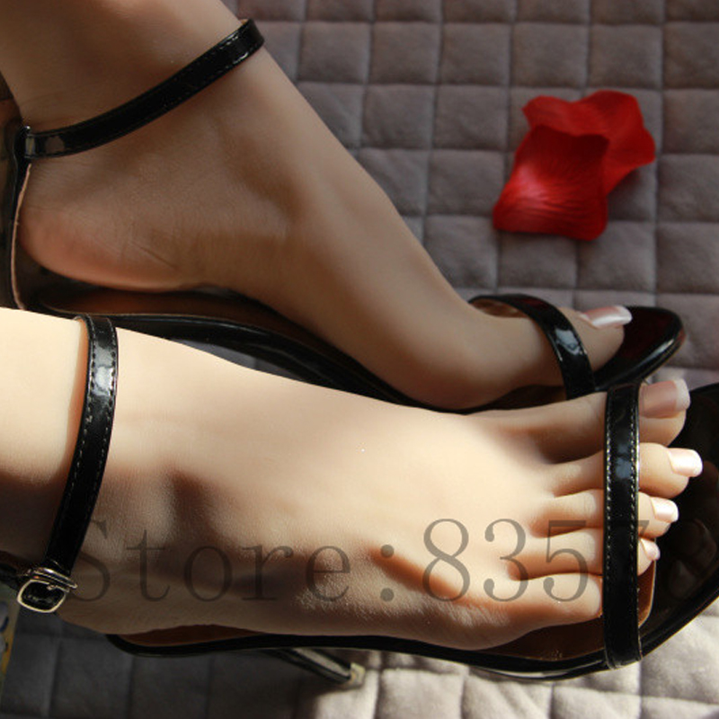 23cm 37# female wheat color Silicone Fake Foot,Inner-Bone Inside,Toe Move Freely,Feet Model,Shoe Model F-509