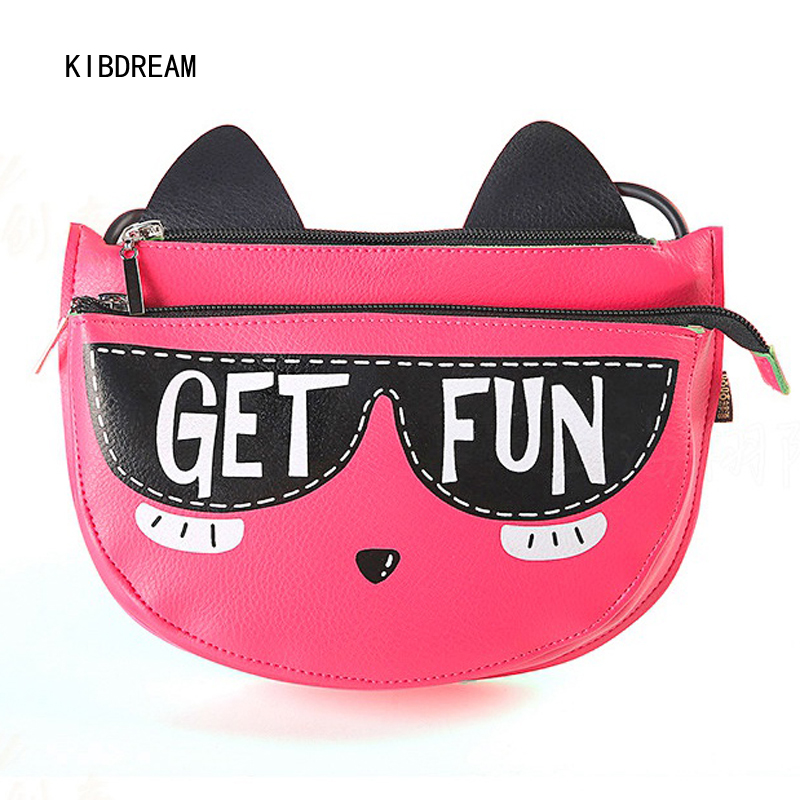 Lady 2018 slant creative Korean retro, fun, casual, female student, little cat, shoulder ...