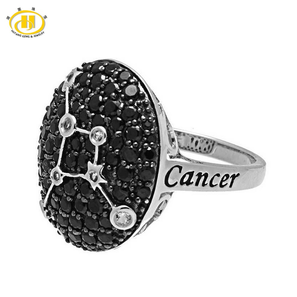 где купить Hutang Cancer Zodiac Sign Natural Black Spinel & White Topaz Ring Solid 925 Sterling Silver Fine Jewelry Women's Birthday Gift дешево
