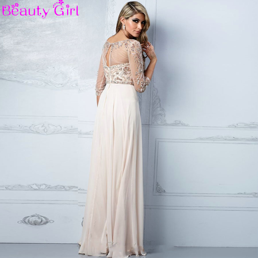 Ivory Straight Chiffon Long Prom Dresses Sheer Top Three Quarter
