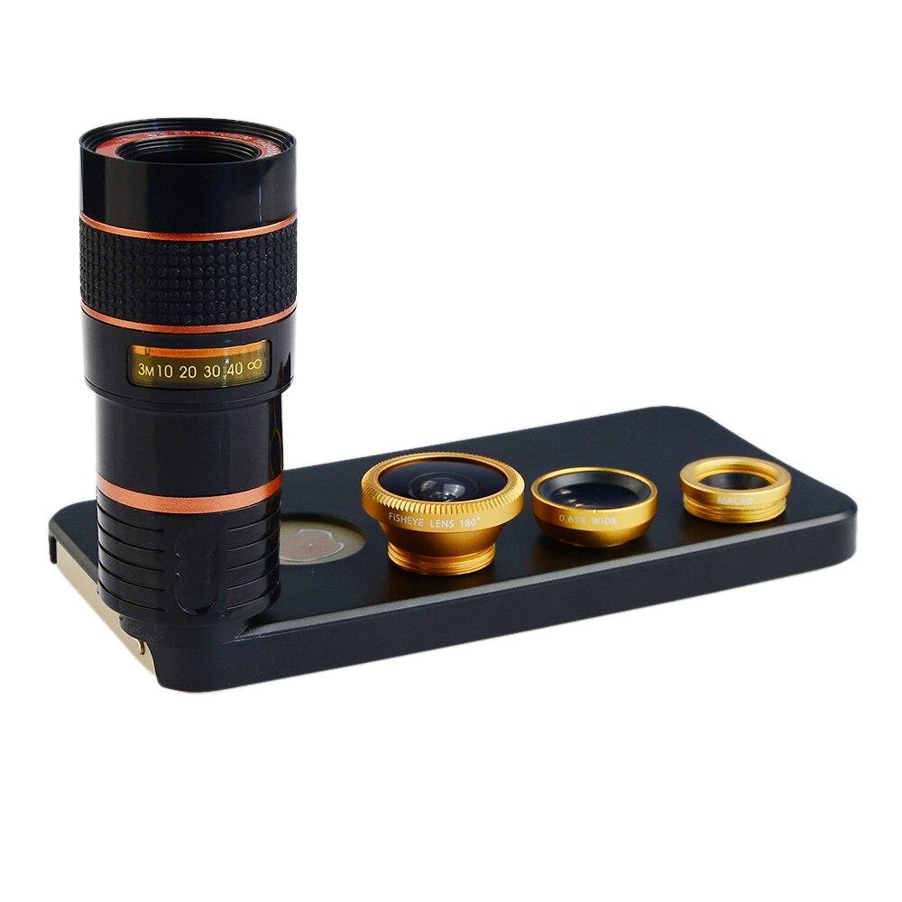 imágenes para Apexel 4 en 1 Cámara Lente Gran Angular Macro + ojo de Pez Móvil ojo + 8X Lente Telefoto con Cubierta Trasera Del Caso para el iphone SE 5 5S