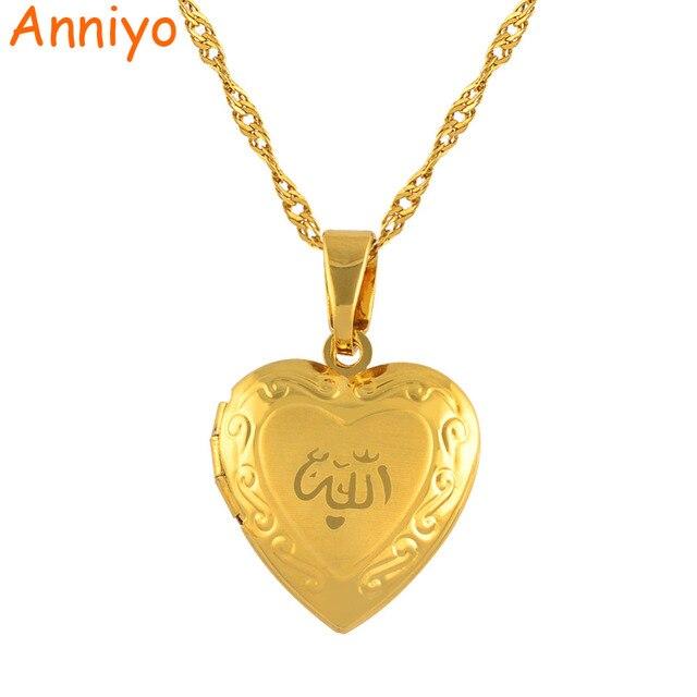 Anniyo serce Allah naszyjnik wisiorek dla kobiet biżuteria muzułmańska mężczyzn, złoty kolor Islam Chain naszyjniki prorok Muhammad #201902