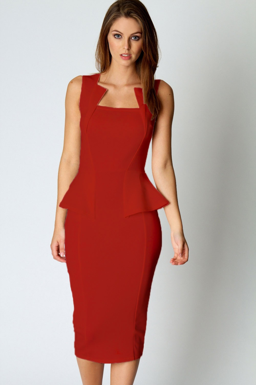 Women Office Dress Abi Neck Detail Sleeveless Midi Dress in Red ...