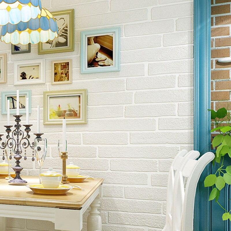✅Ladrillo blanco no tejido rollo de papel 3D ladrillo patrón salón ...