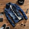 2017 primavera ropa casual para hombre de los hombres de moda chaqueta de mezclilla chaqueta de jean azul oscuro sólido abrigo masculina Otoño Envío Libre M-5XL