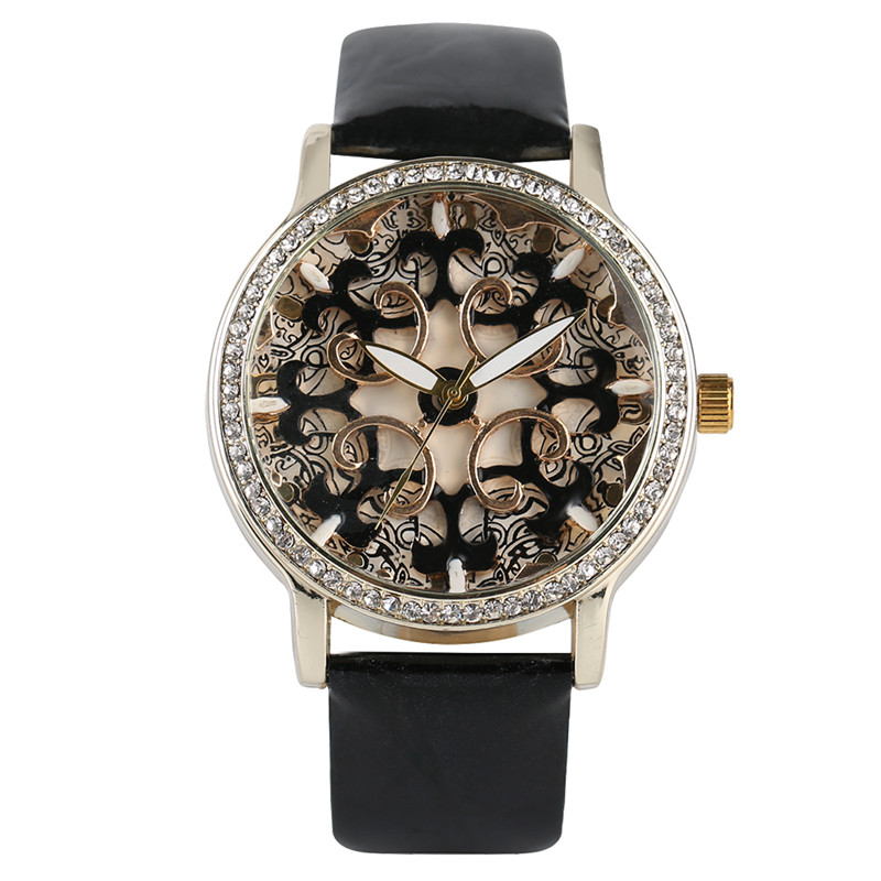 Trendy Flower Carved Women Watches Elegant Crystal Fashion Casual Ladies Wrist Watch Modern Simple Leather Band Girl Best Gift