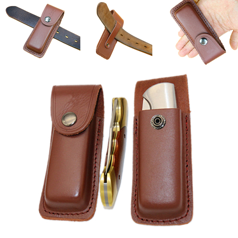 Fold Knife Tool Flashlight Belt Loop Case Holder Leather Sheath Holster Pouch Bag Pocket Hunt Camp Outdoor Carry Edc Multi Gear Traveling Office & School Supplies Cutting Supplies