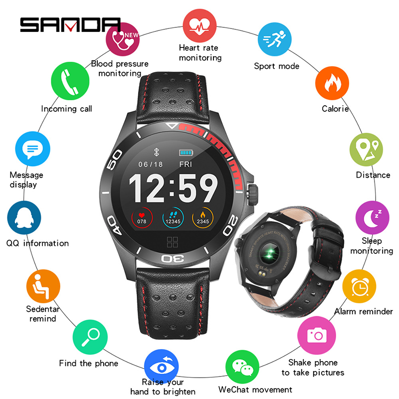 SANDA Moniteur de Fréquence Cardiaque Montre Smart Watch Hommes Bracelet En Cuir Bracelet Sport Montre Bluetooth Numérique Montres Fitness Tracker Étanche
