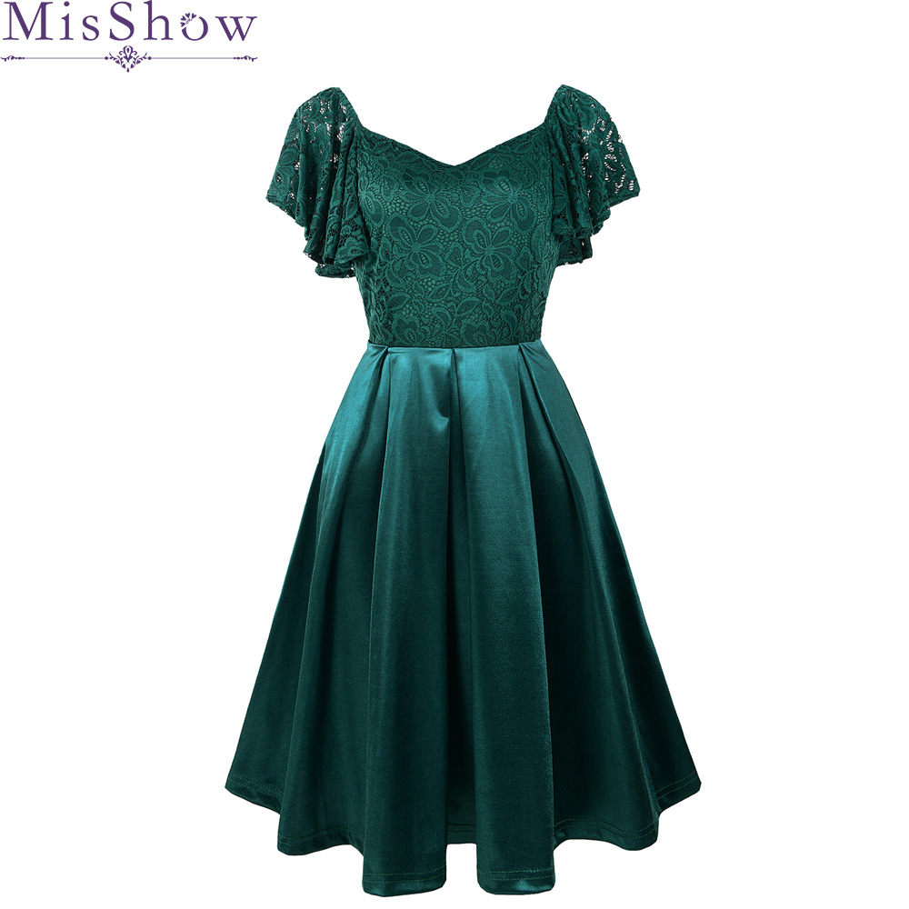 2019  Sexy Satin Cocktail Dresses Short A-Line Short Sleeve Formal Dresses Green Elegant Lace Gown For Party Abito Da Cocktail