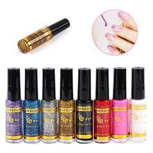 ELECOOL 1 bouteille tirer stylo Nail Art ligne stylo Point holographique vernis à ongles Super brillant liquide ongle Gliter effet hologramme TSLM1(China)