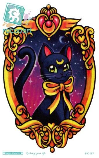 Rocooart MC685 19X12cm Sailor moon Tattoo Sticker Body Art Black Cat Kitty in Mirror Temporary Tattoo Stickers Flash Taty Tatoo