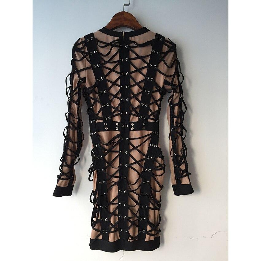 HOHE QUALITÄT Neueste 2019 Barock Runway Designer Kleid frauen Langarm Luxuriöse Schnürung Seil Stretch Bodycon Kleid-in Kleider aus Damenbekleidung bei  Gruppe 2